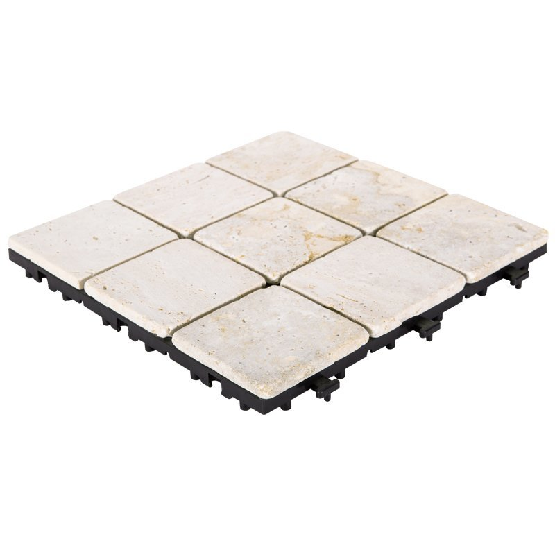 Interlocking deck tiles travertine stone for outdoor flooring TTS9P-YL